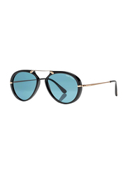 Tom Ford Full Rim Aviator Black Sunglasses Unisex, Blue Lens, FT-047301V53, 53/17/145