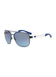 Emporio Armani Full Rim Square Blue/Matte Black Sunglasses Unisex, Gradient Grey Lens, EM-2064-32248F, 62/16/130