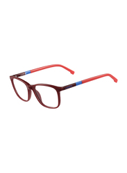 Lacoste Full-Rim Square Red Computer Glasses for Kids, with Blue Light Filter, Clear Lens, 8-13 Years, LA-L3618-615-48-BC, 48/15/130