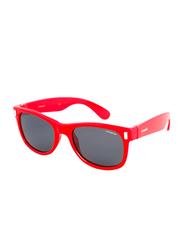 Polaroid Polarized Full Rim Rectangle Red Sunglasses for Boys, Grey Lens, PLD-P0115-33W46Y2, 46/17/130