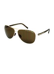 Porsche Design Full Rim Aviator Brown Sunglasses for Men, Brown Lens, PD-8569B, 61/13/130