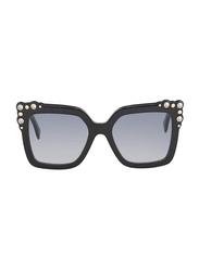 Fendi Full Rim Square Black Sunglasses for Women, Blue Gradient Lens, FN-0260/S-8075208, 52/19/145