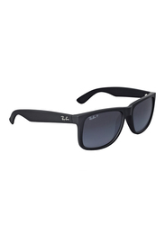 Ray-Ban Polarized Full Rim Square Black Sunglasses for Men, Grey Gradient Lens, RB4165-622/T3, 55/16/145