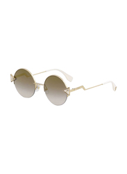 Fendi Full Rim Round Rose Gold Sunglasses for Women, Grey Mirrored Lens, FN-0243/S-00051FQ, 51/21/140