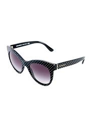 Dolce & Gabbana Full Rim Cat Eye Black/White Dot Sunglasses for Women, Gradient Grey Lens, DG4311-31268G, 51/20/140