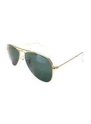 Ray-Ban Full Rim Aviator Gold Sunglasses for Boys, Classic Green Lens, RJ9506S-223/71, 50/14/125
