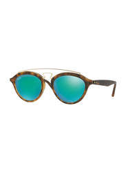 Ray-Ban Full Rim Round Tortoise/Gold Sunglasses Unisex, Green Mirrored Lens, RB4257-60923R, 50/19/145