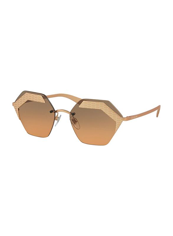 Bvlgari Rimless Serpenteye Rose Gold Sunglasses for Women, Orange Lens, BV6103-201318, 57/17/140