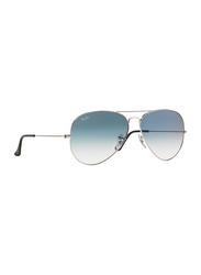Ray-Ban Full Rim Aviator Silver Sunglasses Unisex, Light Blue Mirrored Lens, RB3025-003/3F, 58/14/140