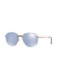 Ray-Ban Full Rim Aviator Gold Sunglasses Unisex, Violet Mirrored Lens, RB3579N-90351U, 58/15/145