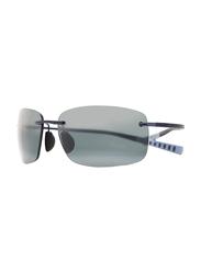Maui Jim Polarized Rimless Rectangle Blue Sunglasses Unisex, Grey Lens, MJ-724, 64/17/140