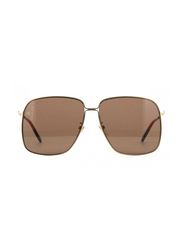 Gucci Full Rim Square Black/Gold Sunglasses for Women, Brown Lens, GU-0394/S-002, 61/14/145