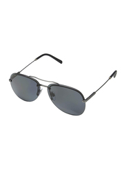 Bvlgari Polarized Full Rim Aviator Black Sunglasses for Men, Black Lens, BV5044-195/81, 60/14/145