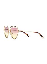 Chloe Full Rim Heart Silver Sunglasses for Women, Pink Lens, CL-CE131S-239, 61/16/140