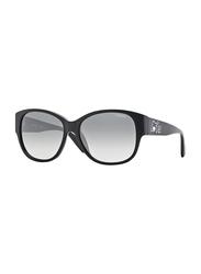 Vogue Full Rim Square Black Sunglasses for Women, Grey Lens, VO2869SB-W44/11, 57/16/135