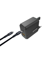 Porodo Wall Charger, with Dual Port PD 18W and QC3.0, with 1.2-Meter Braided Type-C to Lightning PD Cable, Black