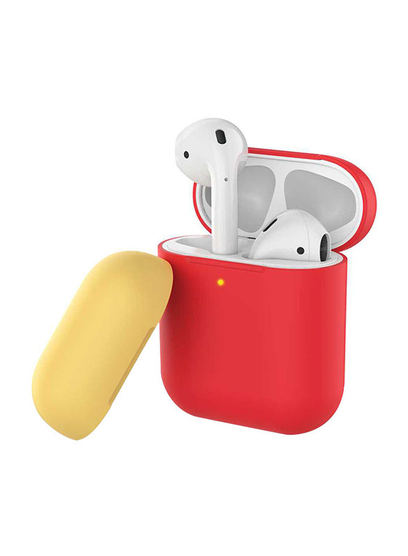 AhaStyle Two Toned Silicone Case for Apple AirPods, Red/Yellow