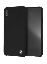 BMW Apple iPhone XS Max Real Microfiber Silicone Back Case, Black