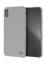 BMW Apple iPhone XS Max Real Microfiber Silicone Back Case, Grey