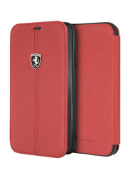 Ferrari Apple iPhone XR Heritage Book Type Genuine Leather Back Case, Red