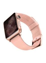 Viva Madrid Montre Allure Leather Strap for Apple Watch 42mm/44mm, Pink/Rose Gold