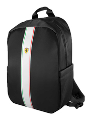 Ferrari Pista 15-inch Metal Logo On Track Backpack Laptop Bag, with Charging Cable, Black
