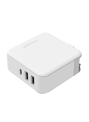 Rav Power 3 Port Quick Charge 3.0-UK-Wall Charger, with Type C Port, White
