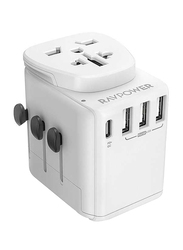 Rav Power UK/US/AU Universal 4 Port Travel Wall Charger, White