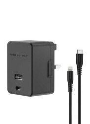 Powerology Dual Port Wall Charger, with 30W USB, 2.4A and PD 18W with Type-C and Mfi Lighting Cable 1.2M, Black