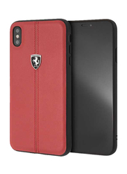 Ferrari Apple iPhone XS Max Heritage Genuine Leather Hard Back Case, Red