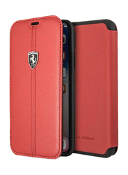 Ferrari Apple iPhone X Heritage Book Type Genuine Leather Back Case, Red