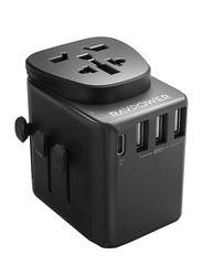 Rav Power UK/US/AU Universal 4 Port Travel Wall Charger, Black