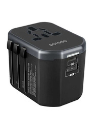 Porodo Dual Port Universal Travel Charger, with Dual Port PD 18W and Quick Charge 3.0, Black