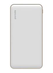 Porodo 10000mAh Super Slim Fashion Series PD Power Bank with USB Type-C Input, White