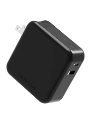 Rav Power 2-in-1 UK Wall Charger, 5000mAh Battery, AC Plug, QC 3.0, Black