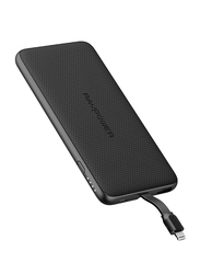 RAVPower 5000mAh Blade Series Slim Power Bank with Built-In Lightning Cable, Black