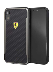 Ferrari Apple iPhone XR with Carbon Effect Track PU and Rubber Hard Case, Black