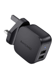 Rav Power 2-Port USB Prime Wall Charger, 17W, Black