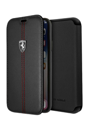 Ferrari Apple iPhone X Heritage Book Type Genuine Leather Back Case, Black