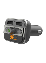 Porodo Car Kit, 3.4A with Wireless H&S-Free & Built-In FM Transmitter, Black