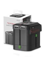 Elago Tripshell Universal Travel Adapter, with Dual USB, Black