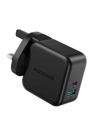 Rav Power 2-Port PD Pioneer Wall Charger, 18W, Black