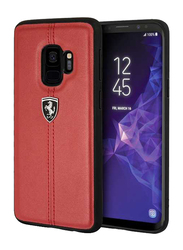 Ferrari Samsung Galaxy S9 Heritage Genuine Leather Hard Back Case, Red