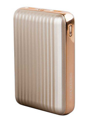 Viva Madrid 10000mAh Vimax Linear USB-C Power Delivery Power Bank with QC 3.0 and USB-A Ports, Gold