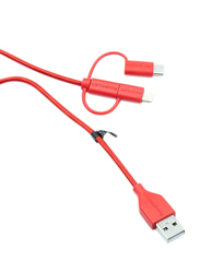 Rav Power 3-Feet 3-in-1 Data Multiple Types Cable, USB Type-A Male to Lightning/USB Type-C/Micro USB for Smartphones/Tablets, Red