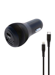 Powerology Dual Port Car Charger, with 30W USB, 2.4A and PD 18W with Type-C and Mfi Lighting Cable 0.9M, Black