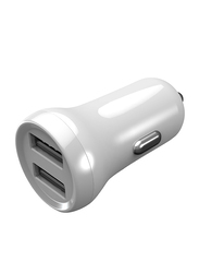 Porodo Mini Car Charger, 2.4A with Dual Port, White
