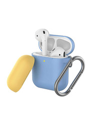 AhaStyle Keychain Version Two Toned Silicone Case for Apple AirPods, Sky Blue/Yellow