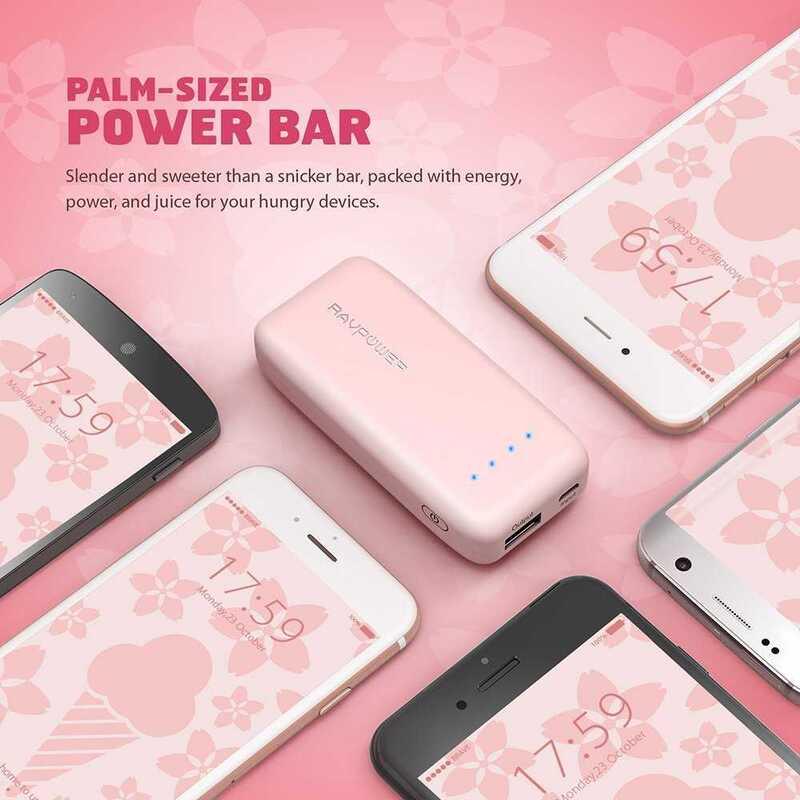 RAVPower 6700mAh Power Bank with iSmart 2.0 Technology, Pink