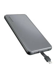 Porodo 10000mAh USB & Type-C Power Bank with Lightning Cable, Grey